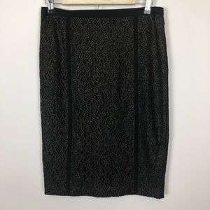Rachel Roy gold and black lace pencil skirt 8